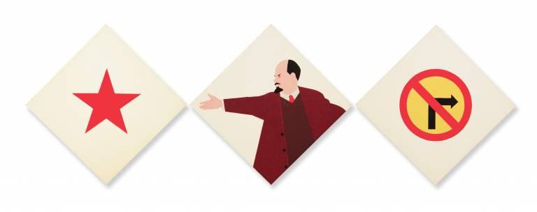 Image credits: Dušan Otašević, Towards Communism on Lenin's Course, 1967. Painted wood, 95 x 95 x 2cm. Courtesy Mira Otašević collection and artist.
