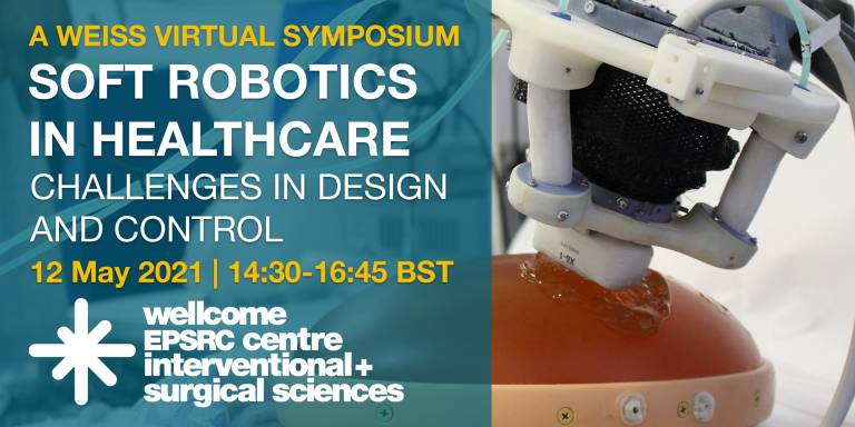 Virtual poster for soft robotics symposium showing an image of a soft robot, 12 May, 14:30-16:45 BST