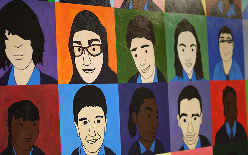 Portrait artwork by pupils at Gladesmore Secondary School. Photo by Phil Meech