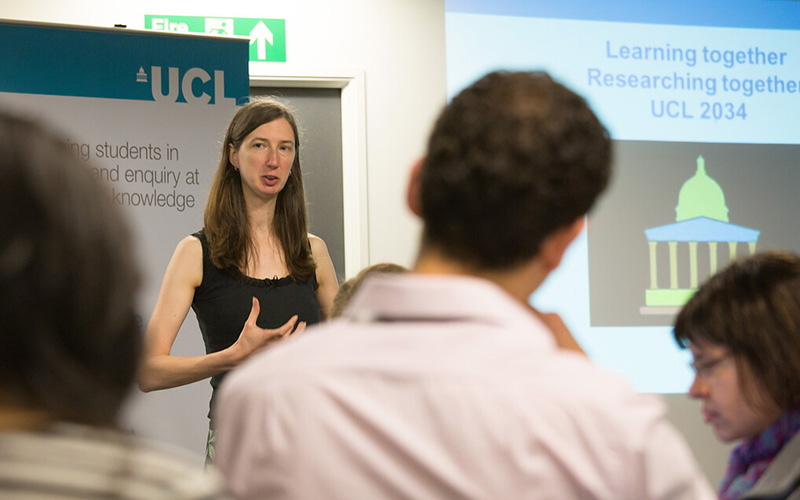 Researcher giving a talk. Photo: Asher Foyle, UCL Digital Media