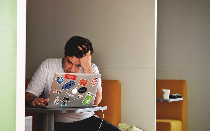 Student laptop stressed