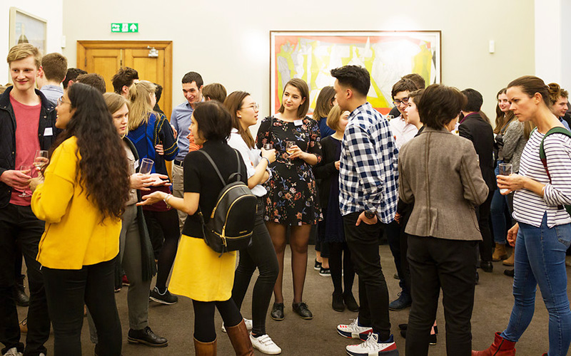 Group of students talking. Photo: Alejandro Walter Salinas Lopez, UCL Digital Media