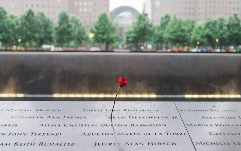 Flower placed on 9/11 memorial