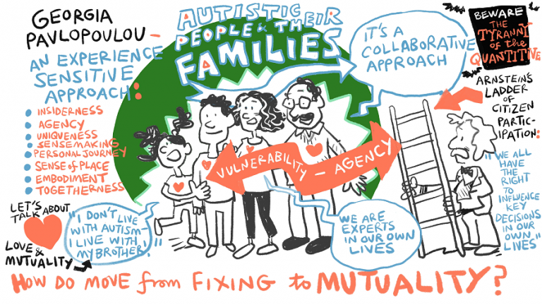 An illustration of a family with quotes in speech bubbles surrounding them focusing on their own lives.
