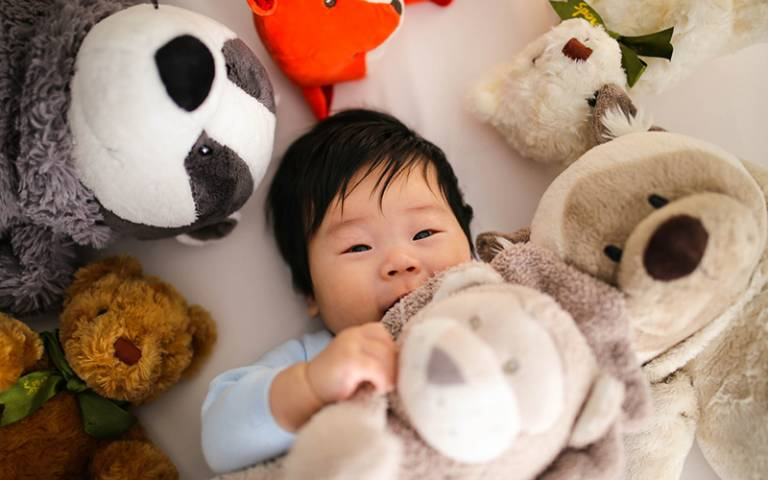Toddler with soft toys