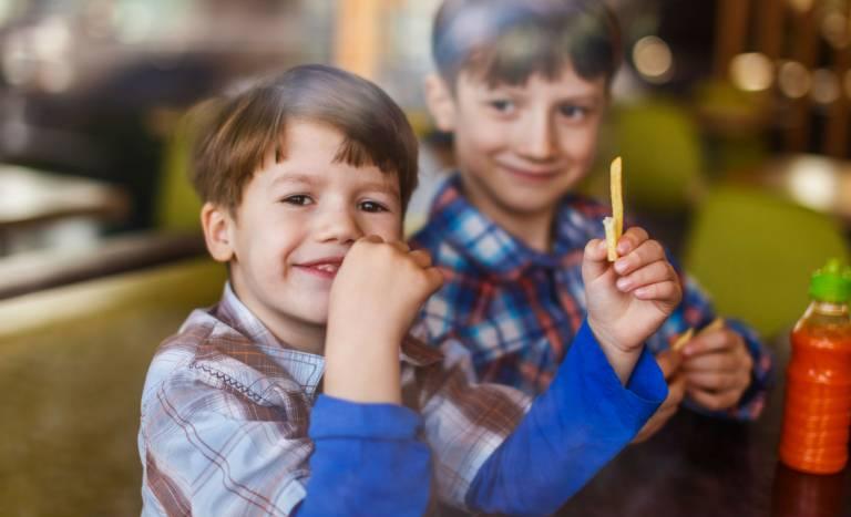 Boy eating chips