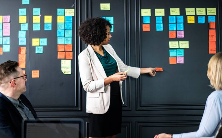 A wall of post-its at a training session