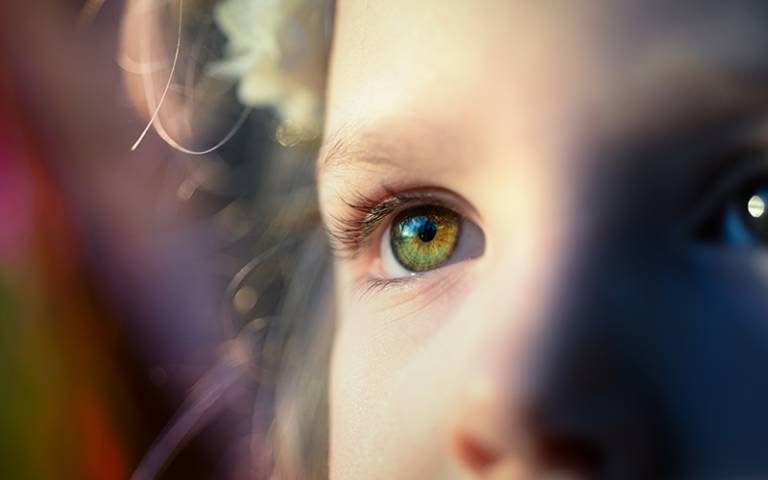 Child's green eye