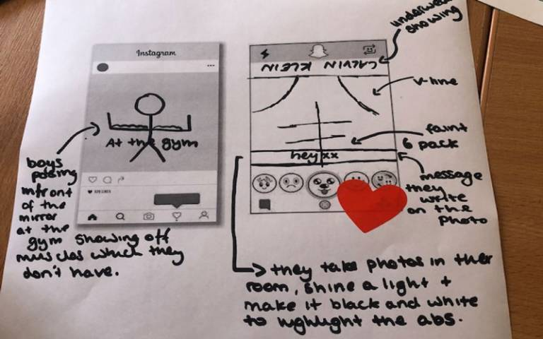Drawing of messages a teenager received via social media