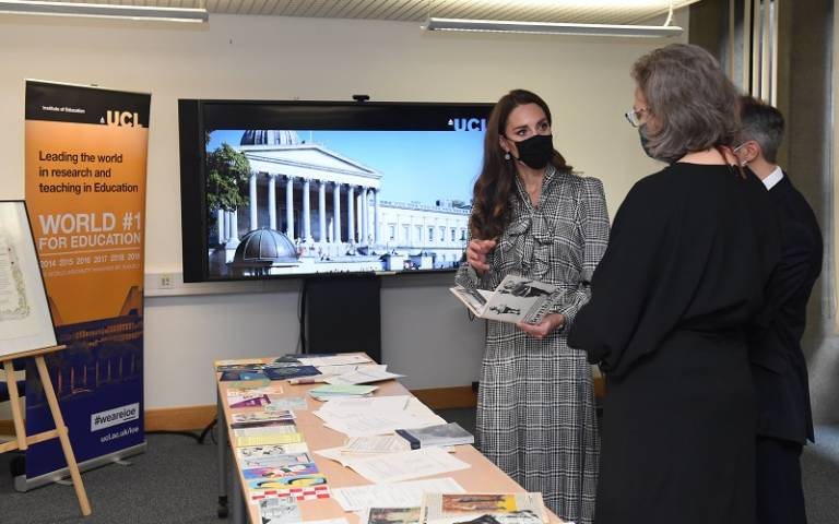 The Duchess of Cambridge speaking to UCL academics in the UCL Institute of Education library