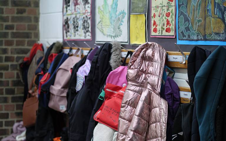 Assortment of coats in a primary school corridor. Image: Phil Meech for UCL Institute of Education