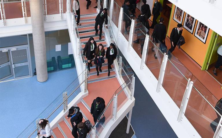 school kids on staircase