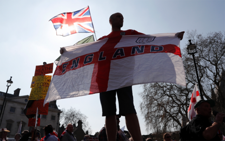 protester with england flag
