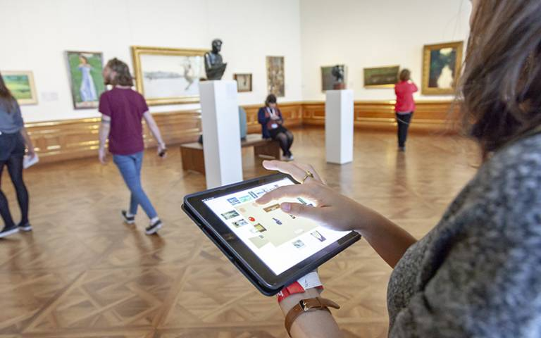 Interactive maps in an art gallery