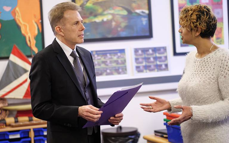 Headteacher and teacher in leadership discussion. Image: Phil Meech for UCL Institute of Education