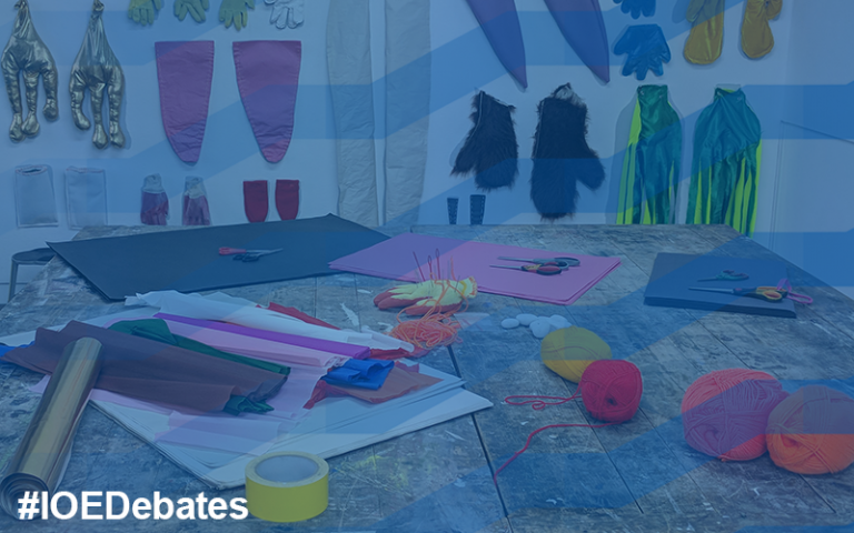IOE Debates arts education. Photo of colourful arts and crafts materials on a table