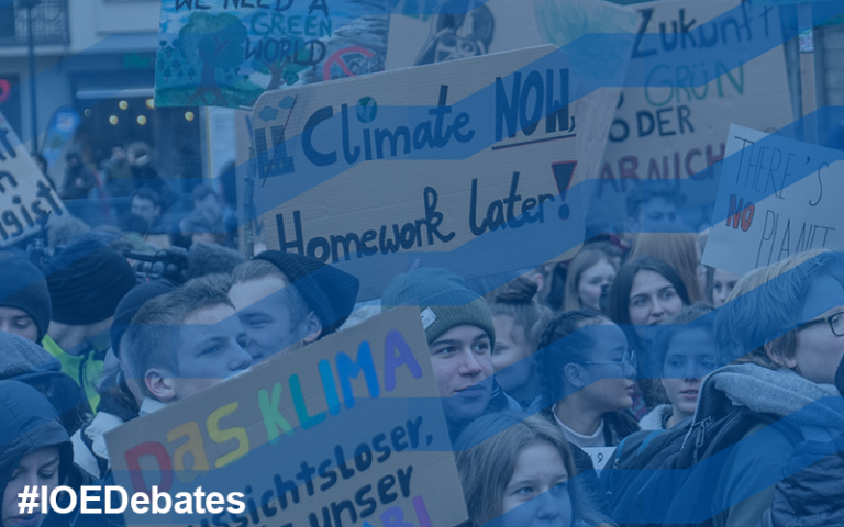 Sign reads 'climate now, homework later!' at pupils' climate protest in Berlin. Photo by Mika Baumeister from Unsplash
