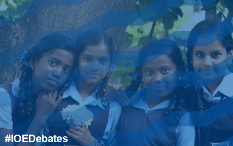 Four girls in Indian school uniform