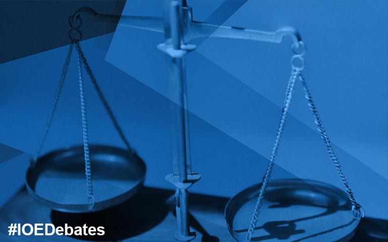 IOE debate on social justice. Image of scales (Mbiama CC BY 3.0)
