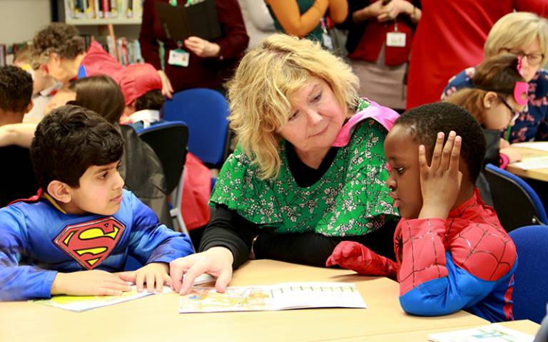 Supporting struggling readers in Reading Recovery: superhero day. Photo by Sarah-Jane Gregori for UCL