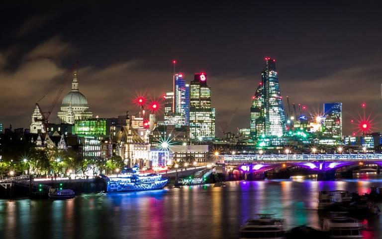 View of London at night looking eastward from Waterloo bridge