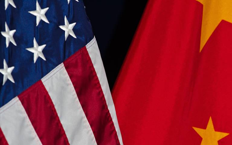 USA and China flags side by side.