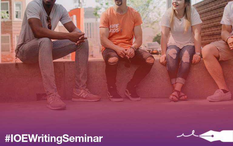 Young adults sitting together. IOE writing seminar. Image: Kate Kalvach via Unsplash