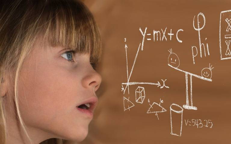 Girl and Mathematics Equations