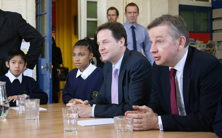 Nick Clegg and Michael Gove visit a school in 2010 (Photo: Cabinet Office, CC BY-NC-ND 2.0)