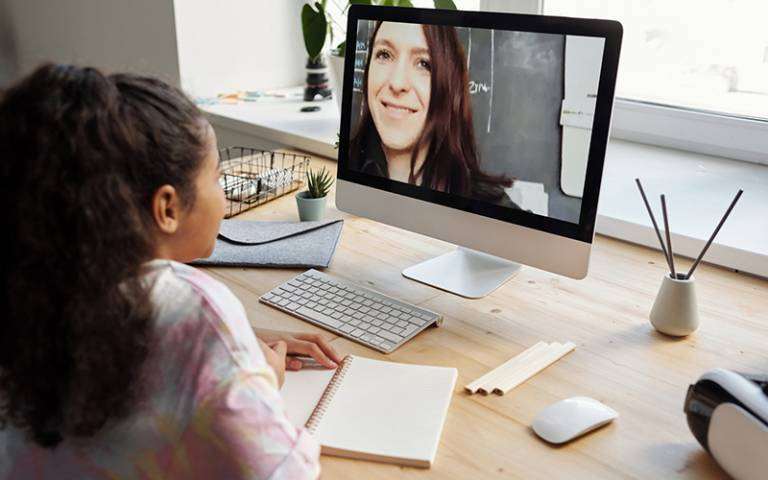 Teacher holding virtual class with pupil. Image: Julia M Cameron from Pexels