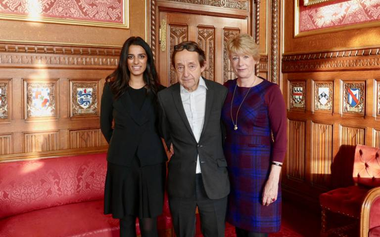 Professor Rose Luckin, Sir Anthony Seldon and Priya Lakhani at the House of Commons for the Institute for Ethical AI in Education launch. © Brody Herberman, Century Tech