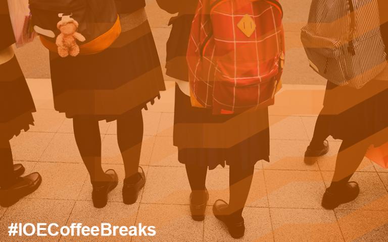 #IOECoffeeBreaks on image of girls in school uniforms with large rucksacks on