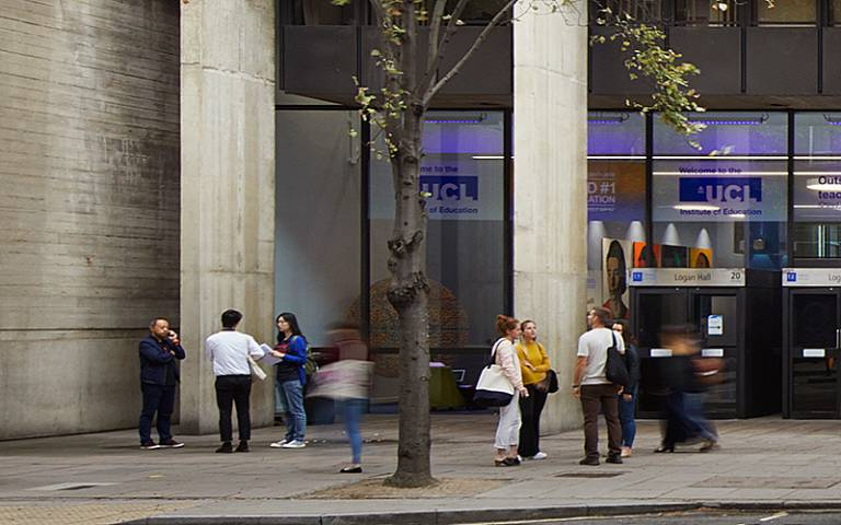 A small group gathered outside the IOE building (Photo by Jack Hobhouse for UCL Institute of Education)