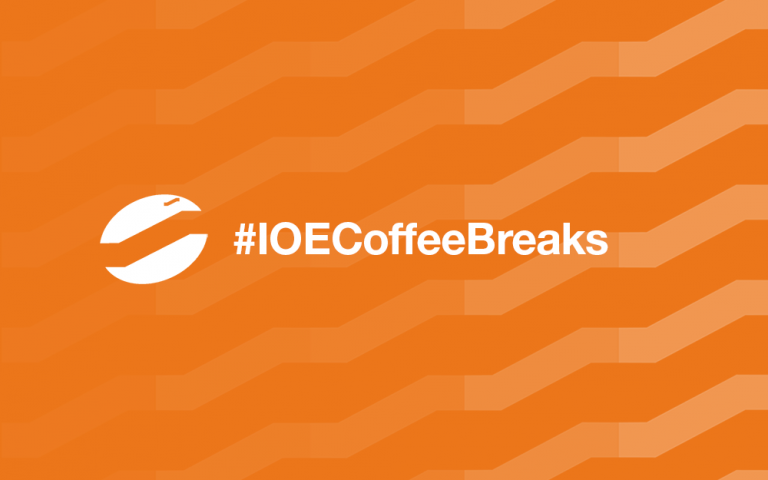 IOE Coffee Breaks with three coffee beans with a ziggurat shape as the middle line
