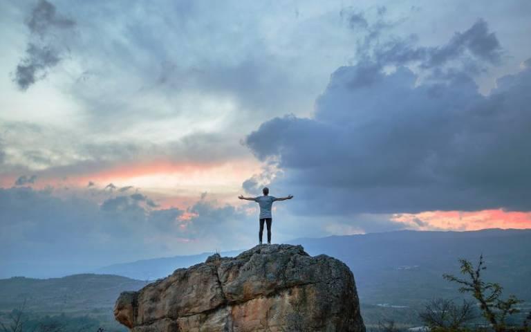 Man in a mountain landscape