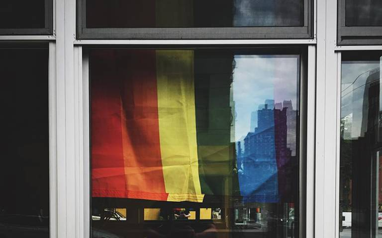 LGBT rainbow flag in a window