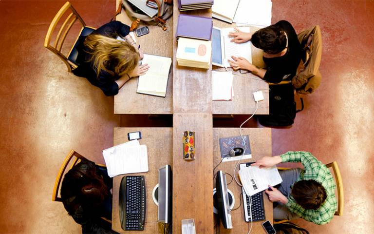 University students studying in the library