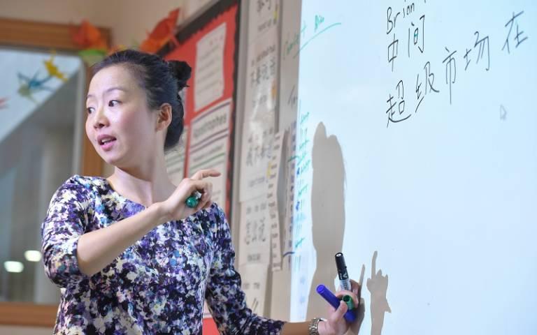 Mandarin teacher pointing at board. Image: Phil Meech Photography