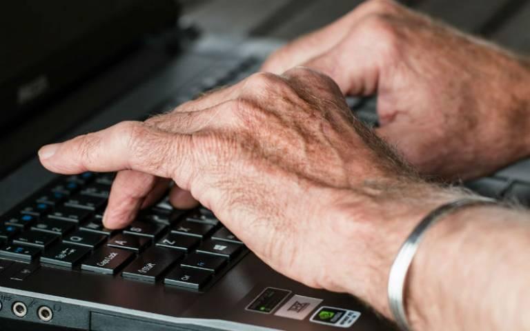 Older hands, typing