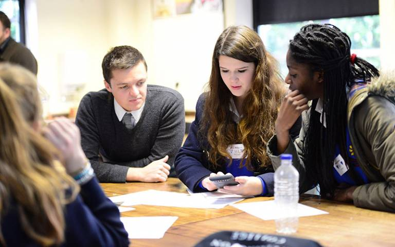 school group activity with calculator - Wellington college