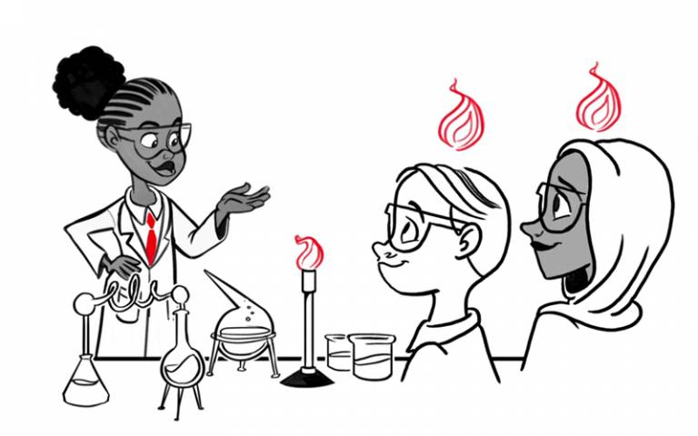 Illustration of science teacher and pupils in a science class