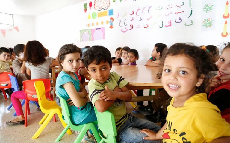 Syrian children learning
