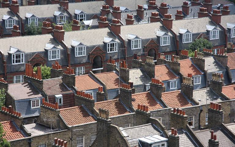 Roofs of London terrace houses