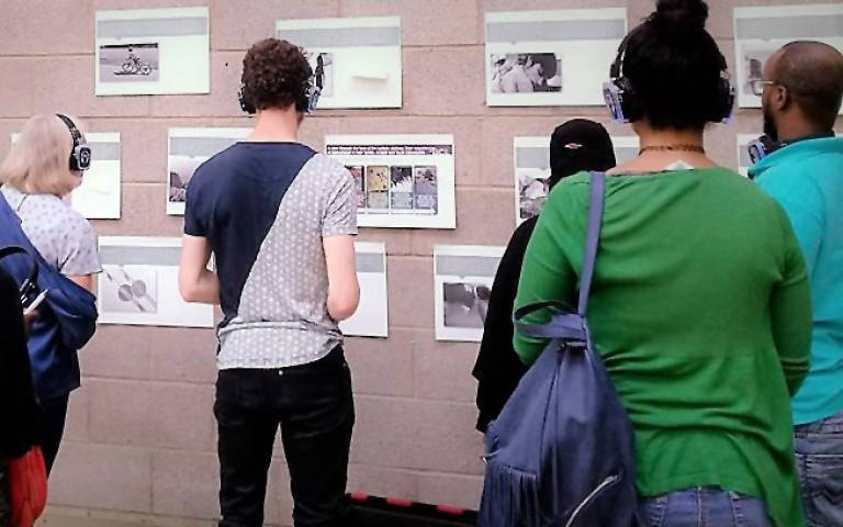 Attendees viewing the exhibition at the Wandsworth Autism Fayre