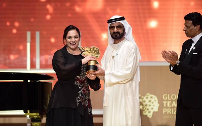 Andria Zafirakou accepting the Global Teacher Prize award