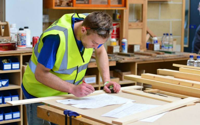 Man working in a carpentry workshop