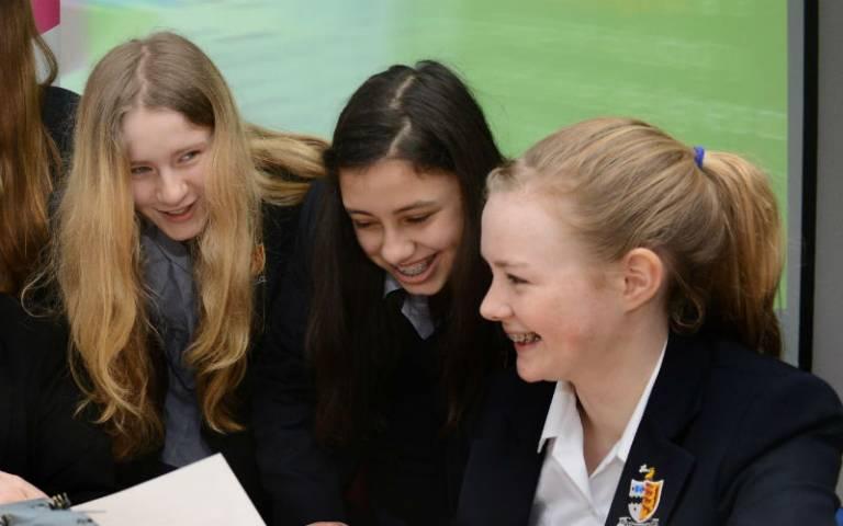 Young schoolgirls seminar