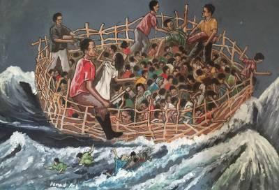 'Tahriib' – Doonidii geerida (Tahriib – the death boat) by Nagib Carab Ibrahim 'HanadArts'. Courtesy of the Hargeisa CulturalCentre