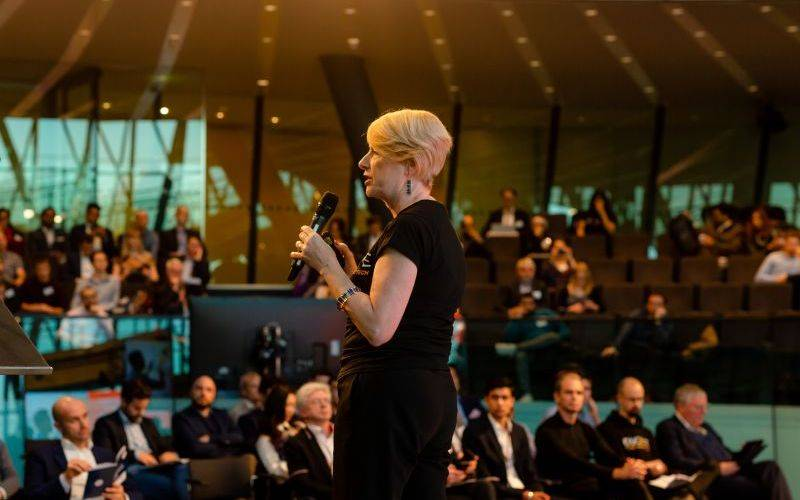Professor Rose Luckin speaking at City Hall. Image: Eternal Weddings for EDUCATE on behalf of UCL Institute of Education