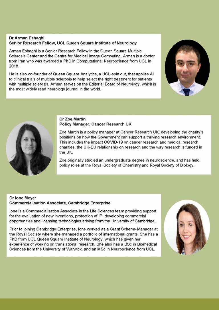 This flyer features images of the speakers and their written profiles